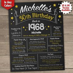 This 50th birthday poster makes a great birthday gift. All 1968 birthday facts on this 50th birthday chalkboard will be completed with your own details. You can print this 1968 birthday poster or get it printed, hang it up inside or outside, frame it or use it as a photo prop for very