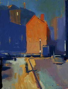 maxi-malist: Orange Building by William Wray Urban Landscape, Abstract Landscape, Landscape Paintings, Abstract Art, Abstract Paintings, Building Painting, Urban Art, Oeuvre D'art, Painting Inspiration