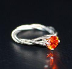 guitar string gemstone promise ring