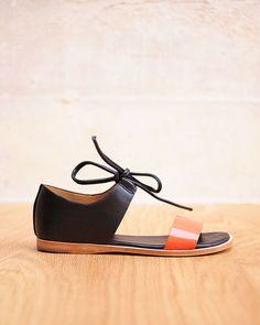 Fiel - Noss Strapped Cuffed Tie Sandal in Coral/Black