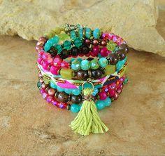 Boho Tassel Bracelet, Colorful Layered Bracelet, Boho Chic Fashion, Beaded Bracelet, Unique Handmade Bohemian Jewelry by Kaye Kraus by BohoStyleMe on Etsy