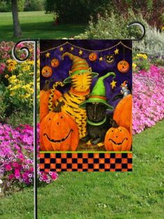 Halloween Cats - Garden Size 12 Inch X 18 Inch Decorative Flag by Custom Decor. $8.39. Original Artwork is reproduced on 300 denier fabric for Finer Quality Reproduction. 100% Polyester fabric stands up to the weather and is mildew and fade resistant.. Permanently dyed, two-sided dye sublimation for vibrant long lasting color. Fits standard decorative flag poles/stands. Custom Décor, Inc. is the #1 producer of AMERICAN MADE Decorative Flags and Mailbox Covers!. Art for yo...