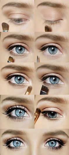 Natural Makeup comment faire un maquillage des yeux bleus - You only need to know some tricks to achieve a perfect image in a short time. Cheap Makeup Brushes Set, Makeup Brush Set, Makeup Tools, Makeup Products, Makeup Brands, Beauty Products, Blue Eye Makeup, Skin Makeup, Beauty Makeup