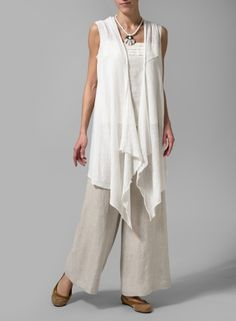 Linen Knit Asymmetrical-Front Cardigan Soft White