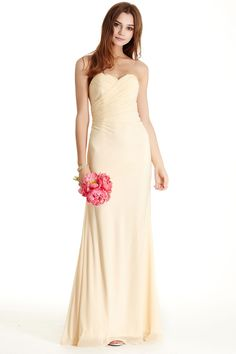 STRAPLESS BRIDESMAID DRESS APL1693.  Solid Color, Long Sheath Shape Bridesmaid Evening Dress has Ruched Bodice with Sweetheart and Strapless Neckline and Low Back, Full Length Flowing Skirt with Flared Hem Completes the Style. https://www.dresstopic.com/bridesmaid-dresses/strapless-bridesmaid-dress-apl1693