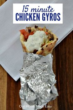 Are you looking for a quick dinner that is also healthy? Skip drive thrus and make these easy chicken gyros! They only take about 15 minutes to make.