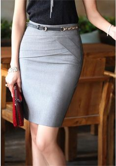 Cheap wear sequin mini skirt, Buy Quality skirt accessories directly from China wear long skirt Suppliers: High Quality 4 Colors Women Skirts Short Solid Saias Casual Elegant Pencil Mini Skirt Female Plus Size Women Work Wear Office Fashion, Business Fashion, Work Fashion, Fashion Check, Business Attire, Grey Pencil Skirt, Pencil Skirts, Gray Skirt, Office Skirt