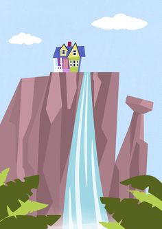 Disney Pixar Up Paradise Falls Mountain Waterfall Ellie Carl House - Modern Film Children Kids Nursery Art Print via Etsy. Disney Up, Disney Love, Tinkerbell Disney, Up Pixar, Pixar Movies, Up The Movie, Paradise Falls, Pinturas Disney, Up Theme