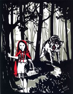 """Little Red Riding Hood.. 8.5"""" x 11 cut paper; Cut black, red and white on a gray background."""