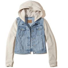 Hollister Hoodie Denim Jacket (€48) ❤ liked on Polyvore featuring outerwear, jackets, light wash with cream, cream jacket, blue jean jacket, blue jackets, cream denim jacket and jean jacket