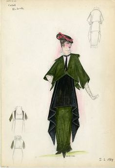 """Day Dress, Callot Soeurs, 'Redonte', 1914. Green and black day ensemble; dark green jacket and hobble skirt; black overskirt tapered down on sides to ankles; white blouse with ruffle collar fastened with black choker ribbon; long white gloves included; black hat with pink flower embellishment included.  (Bendel Collection, HB 005-12)"", 1914. Fashion sketch. Brooklyn Museum, Fashion sketches. (Photo: Brooklyn Museum, SC01.1_Bendel_Collection_HB_005-12_1914_Callot_SL5.jpg)"