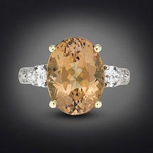 Topacio Imperial y anillo de diamante de 6,63 quilates