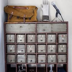 industrial apothecary style cabinet