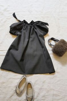 Mackie Bowtie Dress & Fur Bag