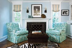 I'd love to spend time in this blue sitting room