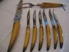 Vintage 6 couteaux a steak une fourchette et un couteaux a dépecer sheffield angleterre 1960  votre code postal pour frais réel S V P de la boutique NorDass sur Etsy