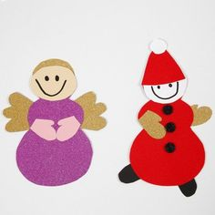 Engel og nisse lavet med skabelon og materialer fra klippepakke til jul Christmas Cards, Christmas Ornaments, Minnie Mouse, Kids Rugs, Jul Diy, Holiday Decor, Disney Characters, Inspiration, Student