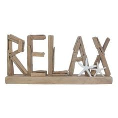 """SONOMA+Goods+for+Life+""""Relax""""+Wood+Sign+Table+Decor+"""