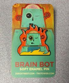 Brain Bot #SoftEnamelPin at my shop! #pinstagram #pins #lapelpin #vintage #robot #art