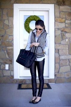 herringbone and leather leggings