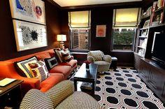 orange sofa media room