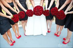 Black wedding party dresses with white fur shoulder capes and red roses