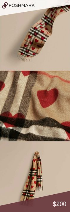 Classic Cashmere Scarf in Check And Hearts %100 cashmere Rectangular Fringing at both ends Made in Scotland Burberry Accessories Scarves & Wraps