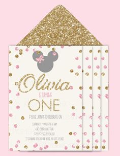 Minnie Mouse Pink and gold Sparkle glitter 1 by StyleMeShabbyChic