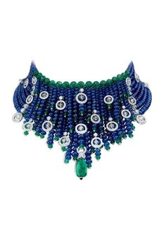 Diamond Necklaces : Vintage Cartier Indian-inspired bib of sapphires, emeralds and diamonds. - Buy Me Diamond Cartier Jewelry, Antique Jewelry, Vintage Jewelry, Cartier Necklace, High Jewelry, Jewelry Necklaces, Diamond Necklaces, Gemstone Jewelry, Estilo Fashion