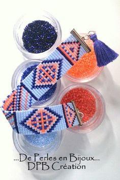 Bracelet tissé perles delicas Miyuki bleu, orange, noir : Bracelet par deperlesenbijoux