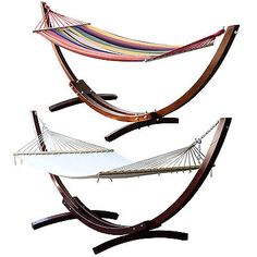 Wood Wooden Arc Hammock Stand W/cotton Hammock Fabric Patio Sling Swing Cot Bed