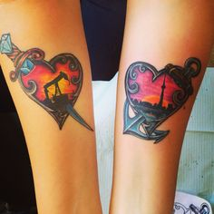 My dagger/pump jack and anchor/Toronto skyline tattoos with hearts