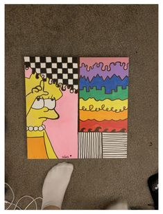 Easy Canvas Art, Simple Canvas Paintings, Small Canvas Art, Cute Paintings, Mini Canvas Art, Hippie Painting, Trippy Painting, Painting & Drawing, Trippy Drawings