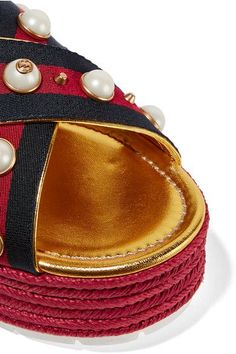 Platform measures approximately 55mm/ 2 inches Gold leather Buckle-fastening slingback strap  Made in Spain