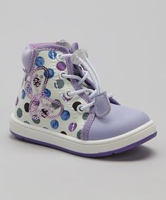 Love this Purple Polka Dot Sydney Hi-Top Sneaker by Oomphies on #zulily! #zulilyfinds