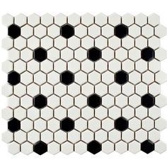 Merola Tile Metro Hex Matte White with Black Dot 10-1/4 in. x 11-3/4... ($59) ❤ liked on Polyvore featuring backgrounds