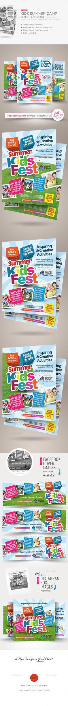 Kids Summer Camp Flyer Template, Flyer template and Print templates - summer camp flyer template