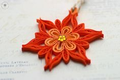 Christmas ornament // paper snowflake // eco-friendly // quilled snowflake // orange // tangerine    Diameter: approx. 5,5 cm ( 2.2 inches)