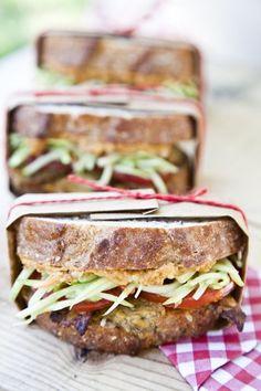 Tempeh Sandwich with Avocado Sweet Potato Salad Spread and Broccoli Slaw