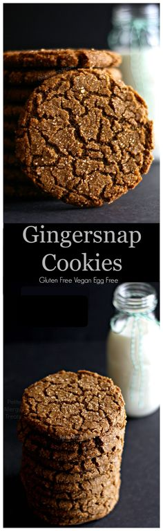Free Vegan Gingersnap Molasses Cookies Gluten Free Gingersnap Cookies Vegan egg free dairy free Chewy crisp and soft gingersnap with just enough spice and is Vegan and Eg. Cookies Sans Gluten, Dessert Sans Gluten, Gluten Free Sweets, Cookies Vegan, Vegan Treats, Gluten Free Baking, Dairy Free Recipes, Vegan Desserts, Vegan Recipes