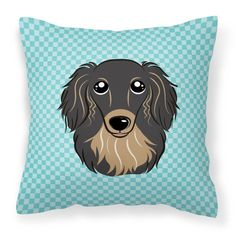 Carolines Treasures Checkerboard Blue Longhair Black and Tan Dachshund Square Decorative Outdoor Pillow - BB1151PW1414