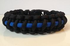 Police Thin Blue Line Paracord Survival Bracelet with Handcuff Key Buckle. Select Size