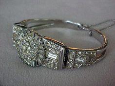 Vintage Ledo Art Deco Hinged Rhinestone Bracelet | eBay