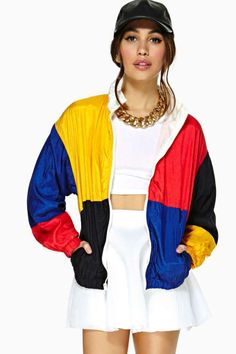 Color block zip-up jacket