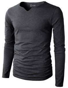 H2H Mens Casual Slim Line Long Sleeve Notch V-neck T-shirt Of Various Colors CHARCOAL US S/Asia M (KMTTL0406)
