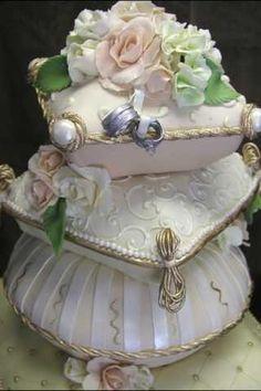 I pillow cakes! Elegant Wedding Cakes, Elegant Cakes, Beautiful Wedding Cakes, Gorgeous Cakes, Pretty Cakes, Amazing Cakes, Exotic Wedding, Pillow Wedding Cakes, Pillow Cakes