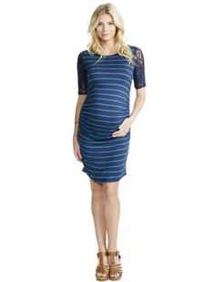 Jessica Simpson 3/4 Sleeve Ruched Maternity Dress