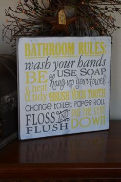 Bathroom Rules Primitive Wood Sign by CreativeTouchWood Primitive Wood Signs, Bathroom Rules, Soap, Handmade Gifts, Etsy, Ideas, Art, Kid Craft Gifts, Art Background