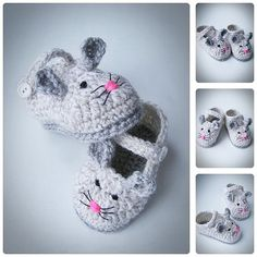 Little Gray Mouse Baby Shoes Spring Crochet by BabesCrochets ♥♥