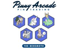Pinny Arcade pins - series 5 set of Pit People pins (From top left to bottom right): Vampiress, Rainbow Horse, Jerkimides, Horatio, Pipistrella